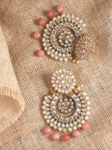 Peach Drops Kundan Chandbali Earrings