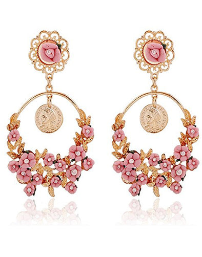 Pink Flower Shape Resin Fancy Party Wear Dangle Chandbali Earrings