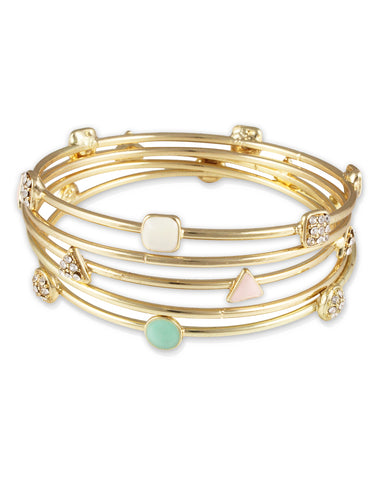 Gold Metal Turquoise Bangles Set