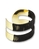 Gold Metal Black Thread Wrap Cuff Bracelet