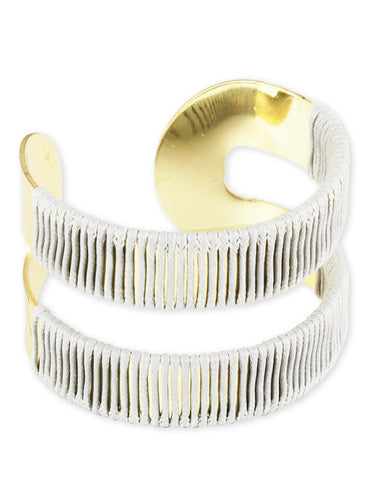 Gold Metal Grey Thread Wrap Cuff Bracelet