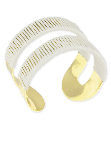 Gold Metal White Thread Wrap Cuff Bracelet