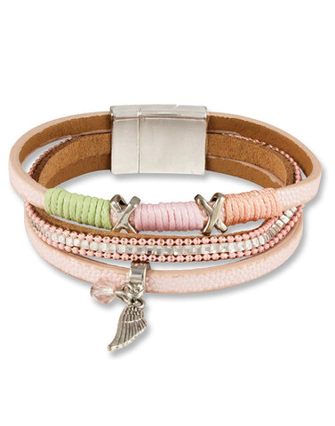 Pink Austrian Crystal Leather Bracelet