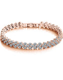 Premium 24K Rose GoldPlated Swiss Cubic Zirconia Bracelet
