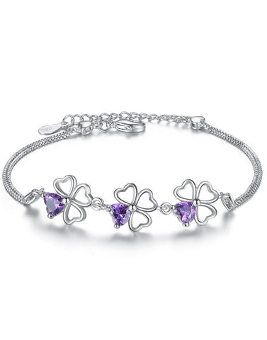 Platinum Plated Purple Floweret Bracelet