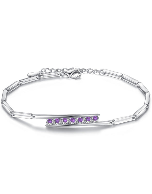 Platinum Plated Austrian Crystal Purple Adjustable Bracelet