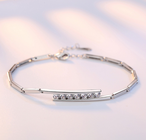 Platinum Plated Austrian Crystal Adjustable Bracelet