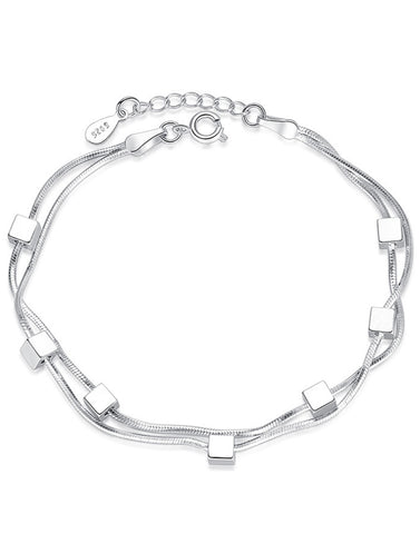 Platinum Plated Metal Square Blocks Adjustable Bracelet