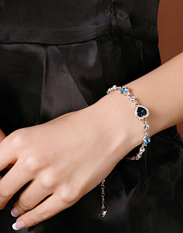Platinum Plated Blue Titanic Heart Stylish Bracelet