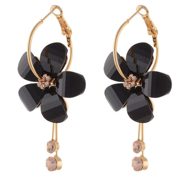 GoldPlated Black Rhine Stone Hoop Dangle Crystal Earrings