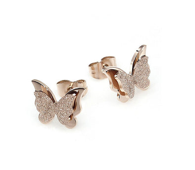 Gold Plated Dual Butterfly Surgical Steel Stud Earrings