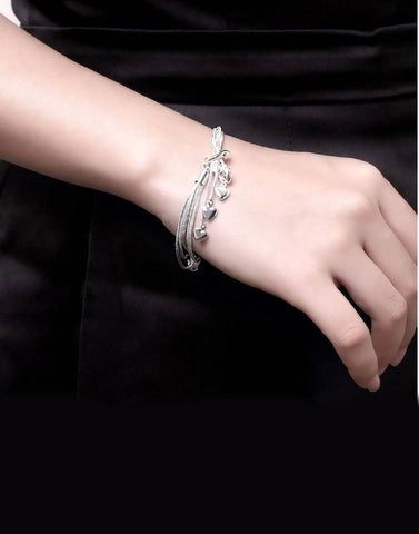Platinum Plated Metal Little Hearts Bracelet for Women