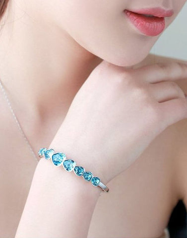Platinum Plated Blue Swarovski Deep Ocean Love Hearts Bracelet