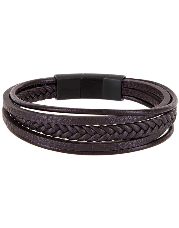Karatcart Brown Leather Double Magnetic-Clasp Cowhide Braided Multi-Layer Wrap Bracelet for Men