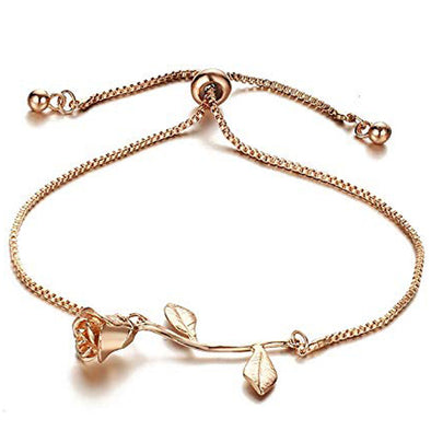 Karatcart GoldPlated Metal Rose Charm Bracelet for Women