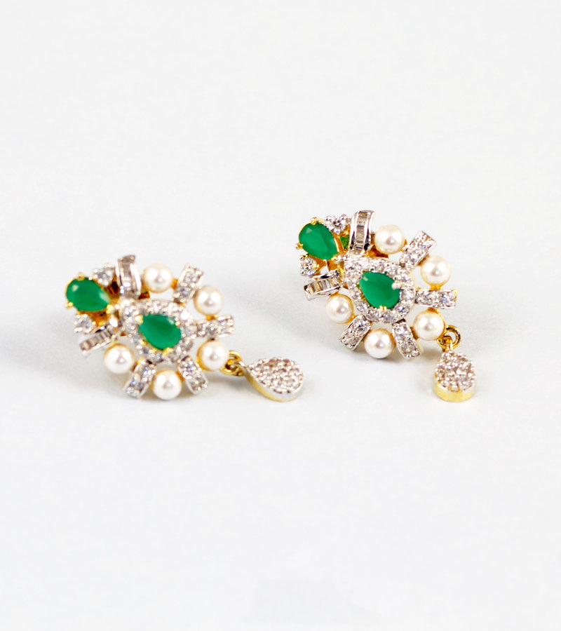 d100a6e6a Green Stone and Pearl American Diamond Earrings