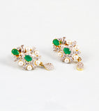 Green Stone and Pearl American Diamond Earrings
