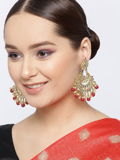 Kunuz Red Beads and Kundan Chandbali Earrings