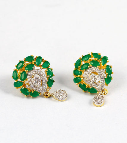 Green Stone and American Diamond Earrings