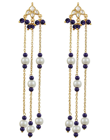 Kunuz Kundan Earrings with Blue beads tassels
