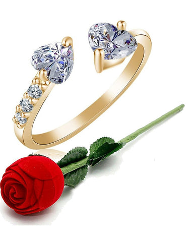 Valentine gift by Karatcart 24K GoldPlated Trendy Elegant Austrian Crystal Heart Cut Adjustable Ring For Women