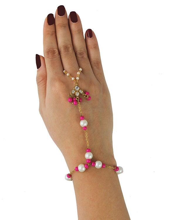 Kunuz Gold-Plated Traditional Kundan Hathphool with Pink Beads