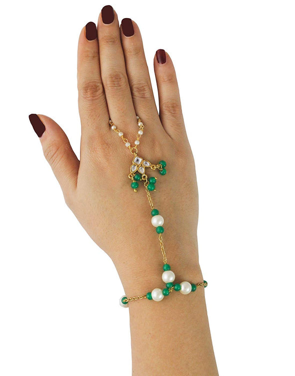 Kunuz Gold-Plated Traditional Kundan Pearl and Green Beads Hathphool for Women