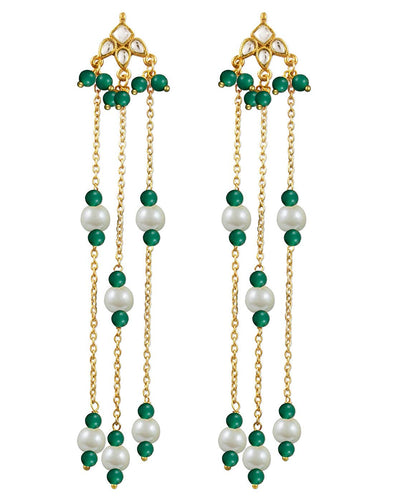 Kunuz Kundan Earrings with Turquoise Blue Beads
