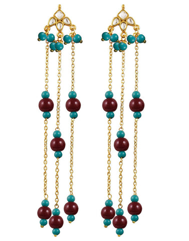 Kunuz Kundan Earrings with Red Blue beads Tassels