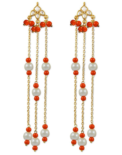 Kunuz Kundan Earrings with Orange Beads tassels