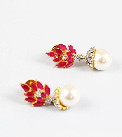 Red Stone and Pearl American Diamond Earrings