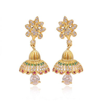 Kunuz Kolkata Style Jhumki Earrings with Red and Green Cubic Zirconia