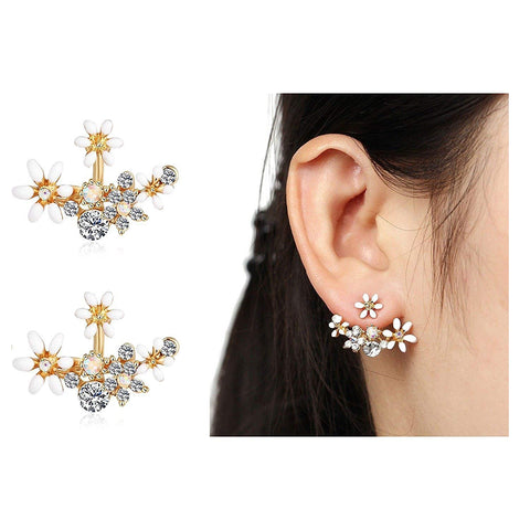 GoldPlated White Crystal Stylish Stud Earrings For Women