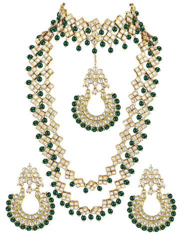 Kunuz Kundan Traditional Bridal Necklace Set Earrings with Maangtikka