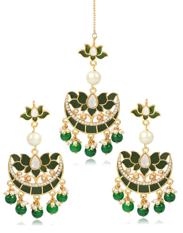 Karatcart GoldPlated Fashion Chandbali Hook Dangler with Maang-Tikka