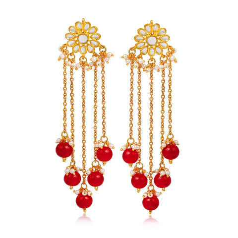 Designer GoldPlated Red Pearl Drop Hanging Earring for Women
