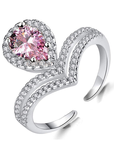 Karatcart Platinum Plated Elegant Austrian Crystal Royal Pink Designer Solitaire Ring for Women