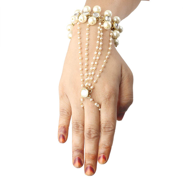 Gold-Plated Kundan Pearl Chain Hathphool