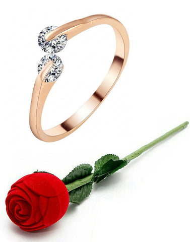 Valentine Gift By Karatcart Premium Rose Gold Plated Trendy Elegant Austrian Crystal Adjustable Ring For Women