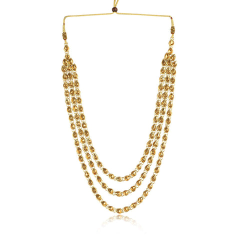 Karatcart 22K GoldPlated Kundan White Pearl Drop Long Necklace