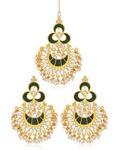 karatcart Fashion Gold Plated Antique Chandbali Hook Dangler Earrings with Maang-Tikka
