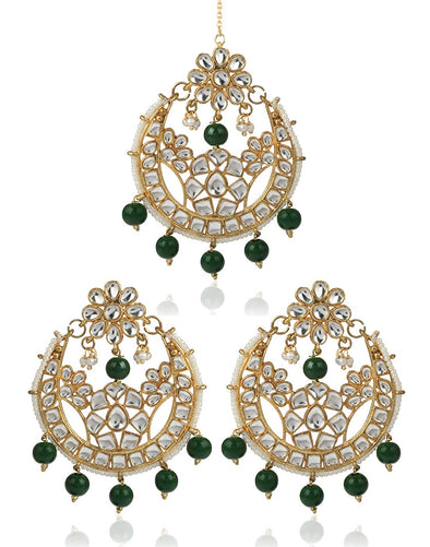 karatcart Gold Plated Chandbali Hook Dangler Earrings with Maang-Tikka