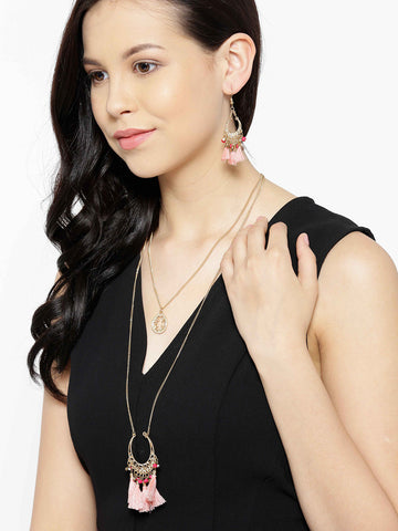 Gold Metal Pink Long Chain Necklace Set