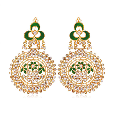 Kunuz Kundan Earrings with Green Meena