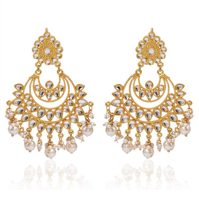 Kunuz Kundan Chandbali Earrings With White Pearl Beads
