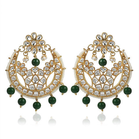 GoldPlated Fashion Chandbali Hook Dangler Stylish Fancy Party Wear Earrings For Women