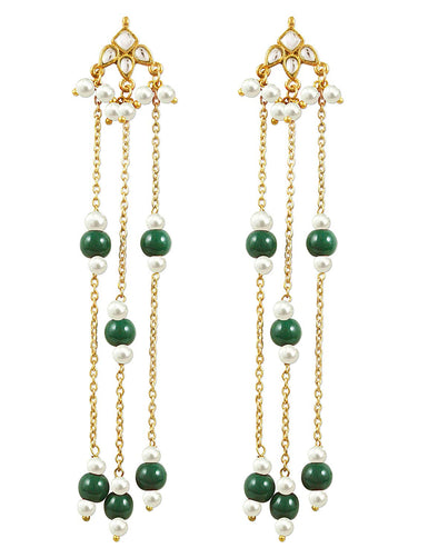 Kunuz Kundan Earrings with green beads tassels