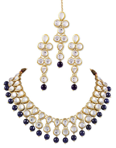 Kunuz Traditional Kundan Necklace Set with Earrings and Blue Beads