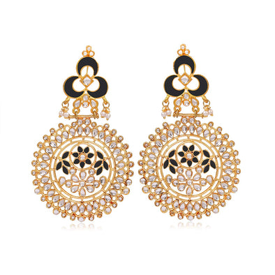 Kunuz Kundan Chandbali Earrings with Blue Meena