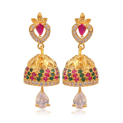 Kunuz Kundan Earrings with Green Beads Jhumki Earrings